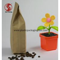 Wholesale Quad Side Sealing Flat Bottom Kraft Paper Bags for Coffee Bean / Tea Packing from china suppliers