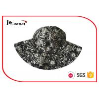 China Wide Brim Colorful Printed Bucket Hat With String , Black / White Bucket Cap on sale