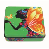 Buy cheap Square Rectangular Tin Box , packing tin box with hinged lid with plastic inner and mirror from wholesalers