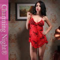 Wholesale Charming Night nylon polyester print ladies sexy night dresses Black , Red , Rose from china suppliers