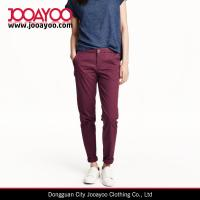 Wholesale Ladies Casual Pants Burgundy Stretched Cotton Twill Slacks Tapered Fit from china suppliers