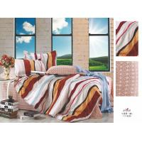 Buy cheap Red and Brown Stripe Flat Queen Size Custom 100 Cotton Bed Sheet Sets from wholesalers