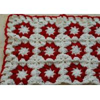 Wholesale White And Red Flowers Folded Knitted Chair Cover Square Overlocking Edge from china suppliers