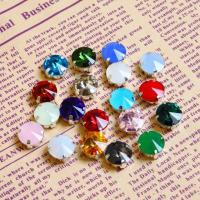 Wholesale AAA flat back sew on fancy glass stones oppal neon color Rivoli 11mm from china suppliers
