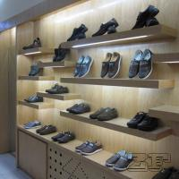Wholesale Top end wooden veneer men's retail shoe store design with led lights from china suppliers