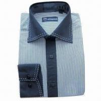 China Men's Long-sleeved Shirt, 100% Cotton Y/D on sale