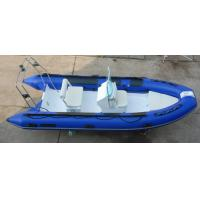 Quality Rigid Inflatable RIB Boats 1.2mm PVC Tube In Blue Color Max 30HP Motor for sale
