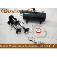 China 3 Trumpet 12V Portable Air Compressor 135DB Train Air Horn Black 150 PSI Full Onboard System Kit on sale