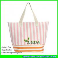 Wholesale LUDA new straw beach bag totes striped paper straw handbags from china suppliers