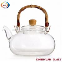 Quality clear pyrex glass big teapot with bamboo handle for sale