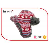 Wholesale Jacquard Girls Winter Trapper Hat With Red Polar Fleece And Faux Fur Lining from china suppliers