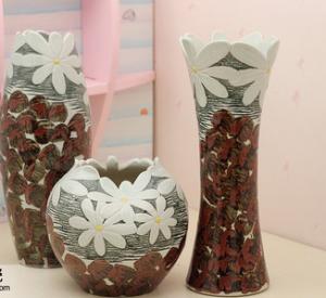 Wholesale Ceramic three-piece home furnishing articles vase handmade chrysanthemum from china suppliers