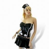 Wholesale Black Leather Nurse Costume, Comes in Various Sizes, Ideal for Halloween Parties from china suppliers