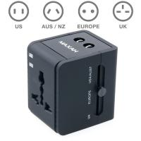Wholesale Portable Black Universal USB Travel Charger US / UK / AU / EU Plug With 2 USB Interface from china suppliers