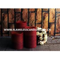 Wholesale Decorative Flameless LED Pillar Candles With Real Wax In Red , Distressed Finish from china suppliers