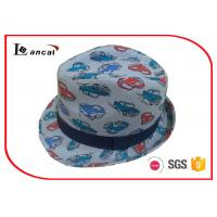 Wholesale Navy Ribbed Band Womens Summer Trilby Hats , Ladies Trilby Sun Hat from china suppliers
