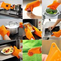 Wholesale Non-stick Silicone BBQ Baking Glove Cooking Mitts With Heart-shaped Point from china suppliers