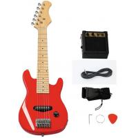 Wholesale Custom Wooden Red 30 Inch Mini Electric Toy Guitar Kit For Children from china suppliers