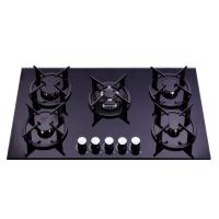 Wholesale Black 90cm Gas On Glass 5 Burner Hob  , Gas And Electric Stove 900*510mm from china suppliers