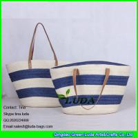 Wholesale LUDA navy blue striped totes lady summer paper straw shopping bag handbags from china suppliers