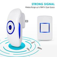 Wholesale White wireless door ring bell with 1 Push Button Transmitter and 1Plug In AC Receiver from china suppliers