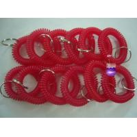 Wholesale 12pcs/lot plastic spiral coil wrist band key ring chain red color keyrings factory cheap from china suppliers
