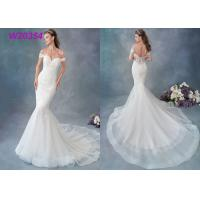 China Embroidered Lace / Tulle / English Net Mermaid Style Wedding Dress Detachable Cap Sleeve for sale