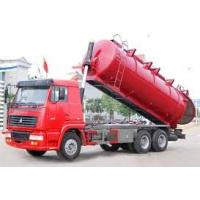 Wholesale Red Diesel Sewage Suction Truck 6 Cubic Meters with 5m Suction Depth , EURO II from china suppliers