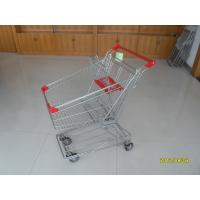 Wholesale Asian Type 80L Wire Shopping Carts With 4 Inch Rotating TPE Casters And Red Plastics from china suppliers