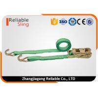 Wholesale WLL 2T Green Ratchet Straps with Hooks , Double J Hook Ratchet Straps for Cargo Security from china suppliers