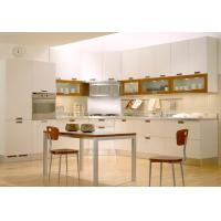 Wholesale Matt White L Shape Pvc Kitchen Cabinets With Table / SS Countertop / Blum Hardware from china suppliers