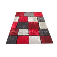Wholesale Plaid Pattern Grey / Red Polyester Contemporary Shaggy Rug, Bathroom Carpet Custom from china suppliers