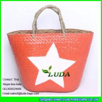 Wholesale LUDA imitate palm leaf straw bag painted white star  straw beach tote bag from china suppliers