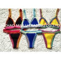 Quality Two pieces  hand crochet trims flexible swimwear with many colors for sale