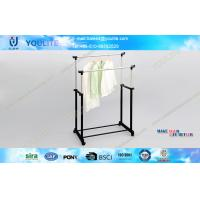 Wholesale Double Rail Adjustable Telescopic Rolling Clothes Rack Simple for Bedroom from china suppliers
