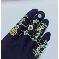 Wholesale Girls Gemstone Gold Jewelry ,  Natural Emerald Diamond Gold Ring In Solid Gold from china suppliers