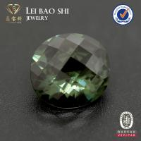 wholesale Checker board faceted cut #152 grass green synthetic spinel for jewelry