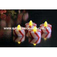 Wholesale Candy Cane Design Flameless Tealight Candles / Plastic LED Tealights for Home Decor from china suppliers