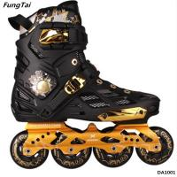 China Mens And Womens 4 Wheels Inline Skate Shoes Street Slalon Roller Patins Black White Color (DA1001-1002) on sale