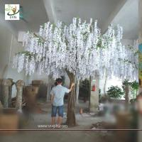 Wholesale UVG WIS003 china home decor wholesale 4 meters tall white artificial wisteria flowers wedding blossom tree from china suppliers