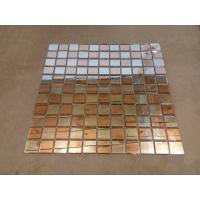 Wholesale Fiber Mesh Mirror Glass Mosaic Wall Tiles , Rose Gold Silver Glass Backsplash Tile from china suppliers