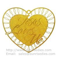 Gold tone etched metal heart love card