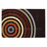 Wholesale Rainbow Pattern Black Hand-tufted Wool Area Rug 0.8cm - 1.2cm Pile Height Customized Size from china suppliers