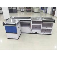 Wholesale Full Metal Supermarket Conveyor Belt Checkout Counter Cashier Currency Desk Checkout Counter from china suppliers