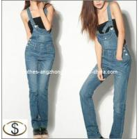 Wholesale 2013 Fashion Women′s Suspenders Jeans Straight Blue Denim Bib Pants from china suppliers