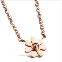 Wholesale Drjobson Jewelry rose gold titanium steel rose flower necklace-N02 from china suppliers