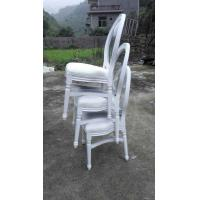 Quality French style oak wood oval back louis dining chair linen fabric side restaurant stackable chair for sale