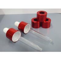 Quality 20 / 410 red aluminum dropper  cap with glass or plastic pippete for cosmetic oil for sale