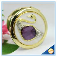 Quality Shinny Gifts Elegant Swan Design Rhinestone Mirror Compact Mirror For Wedding Souvenir for sale