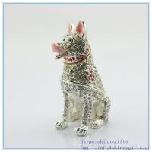 Wholesale Diamond animal dog shape wholesale jeweled trinket boxes  SCJ734 from china suppliers
